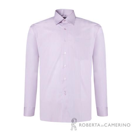 ROBERTA諾貝達 台灣製 休閒百搭 簡約條紋長袖襯衫 粉紅
