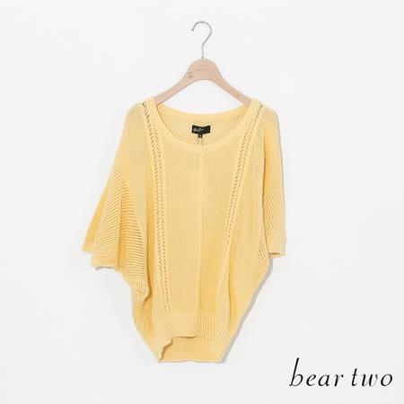 beartwo 素面一般身毛衣五分袖-中黃