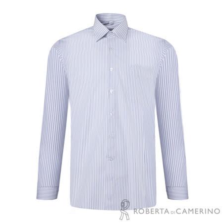 ROBERTA諾貝達 台灣製 嚴選穿搭 品味條紋長袖襯衫 藍白