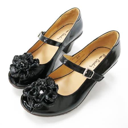 法國pierre cardin[20051-9]釋壓氣墊真皮魚口鞋-黑