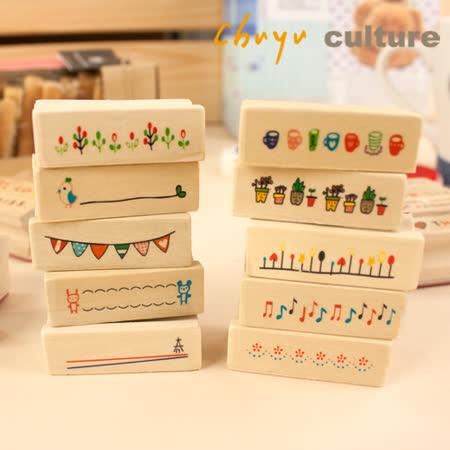 印珠友 DY-90027 DIY長型萬用木質印章/造型印章