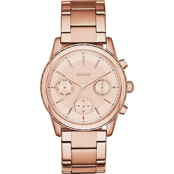 DKNY Rockaway 都會新貴 日曆腕錶~玫瑰金38mm NY2331