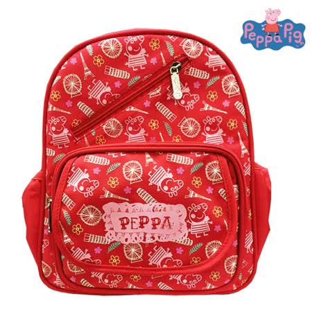 【Peppa Pig 粉紅豬】圖騰兒童後背包(佩佩巴黎_PP5821A)