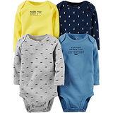 美國 Carter / Carter's 嬰幼兒長袖包屁衣四件組_黃色微笑_CTGB052