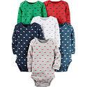 美國 Carter / Carter's 嬰幼兒長袖包屁衣六件組_交通工具_CTGB055