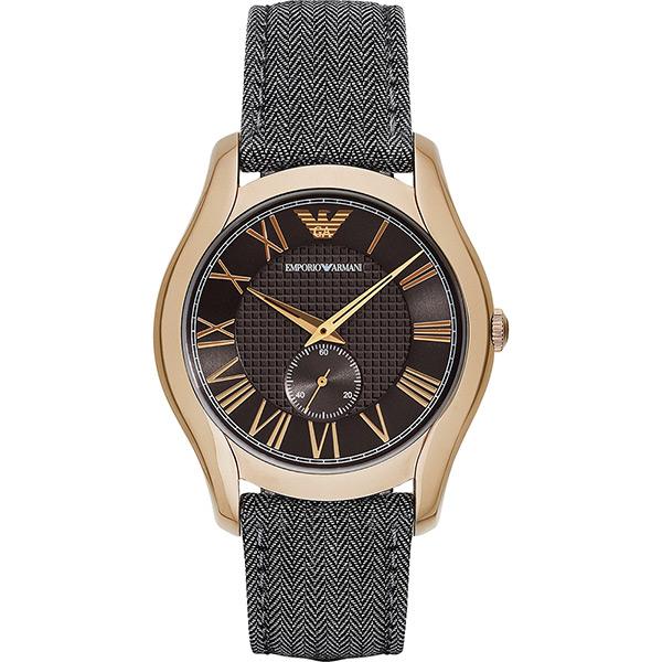 Emporio ARMANI 亞曼尼羅馬小秒針腕錶~咖啡x古銅金43mm AR1985