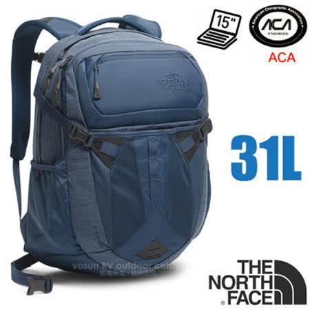 【美國 The North Face】新款 RECON 抗撕裂多功能後背包31L(YKK拉鍊+求生哨_電腦書包_可容15吋筆電_美國脊椎協會認證) CLG4 蔭藍灰/蔭藍