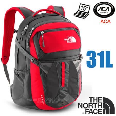 【美國 The North Face】新款 RECON 抗撕裂多功能後背包31L(YKK拉鍊+求生哨_電腦書包_可容15吋筆電_美國脊椎協會認證) CLG4 紅/瀝灰