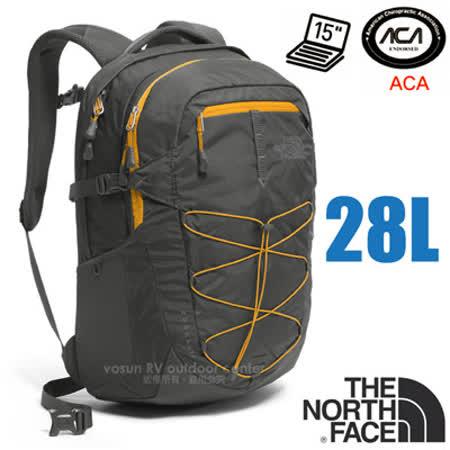 【美國 The North Face】新款 BOREALIS 輕量抗撕裂多功能後背包28L(日用電腦書包_可容15吋筆電_美國脊椎協會認證)/CHK4 瀝灰/水晶黃
