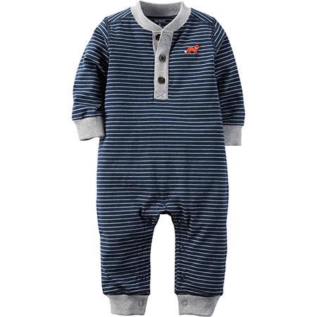 美國 Carter / Carter's 嬰幼兒秋冬連身裝_藍灰條紋_CTJB-016