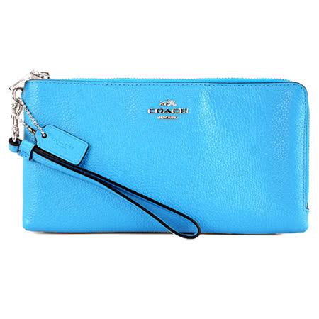 COACH 立體馬車荔枝皮革雙拉鍊長型手拿包(天藍)