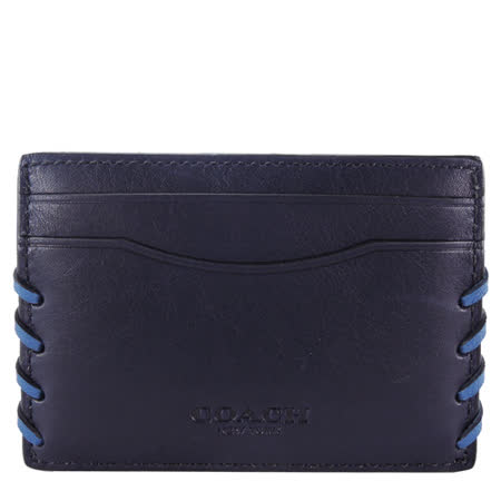COACH 男用編織飾邊皮革名片夾(深藍)