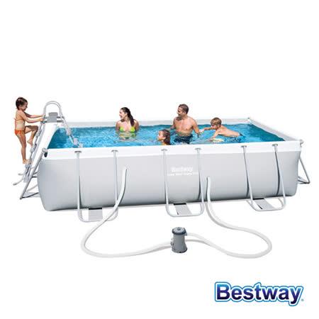【BESTWAY】4-6人超大方型框架泳池/戲水池(56441)