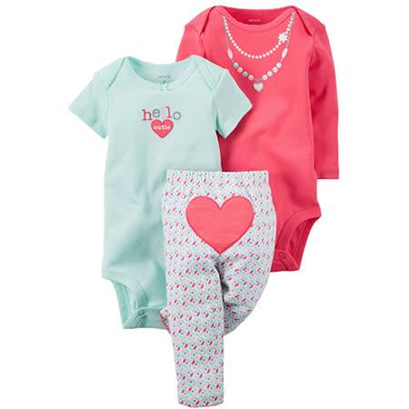 美國 Carter / Carter's<br>嬰幼兒包屁衣與長褲屁屁圖案三件組
