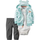 美國 Carter / Carter's 嬰幼兒秋冬暖外套包屁衣長褲三件組_藍白條紋_CTBC037