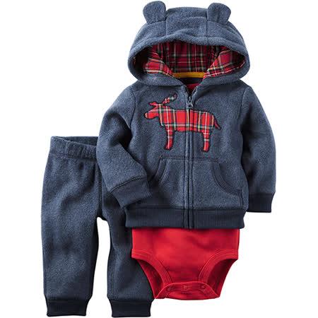 美國 Carter / Carter's 嬰幼兒秋冬暖外套包屁衣長褲三件組_格子麋鹿_CTBC039