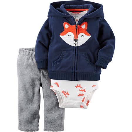 美國 Carter / Carter's 嬰幼兒秋冬暖外套包屁衣長褲三件組_橘狐狸_CTBC040