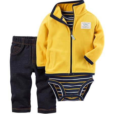 美國 Carter / Carter's 嬰幼兒秋冬暖外套包屁衣長褲三件組_運動黃_CTBC041