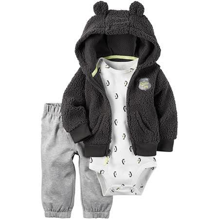 美國 Carter / Carter's 嬰幼兒秋冬暖外套包屁衣長褲三件組_優雅深咖_CTBC043