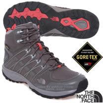 【美國 The North Face】女新款 Litewave Explore Gore-Tex 中筒登山健行鞋.越野鞋.健行鞋.戶外運動鞋/ 2T42 暗灰/珊瑚色