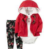 美國 Carter / Carter's 嬰幼兒秋冬暖外套包屁衣長褲三件組_聖誕紅_CTGC040