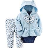 美國 Carter / Carter's 嬰幼兒秋冬暖外套包屁衣長褲三件組_藍色愛心花園_CTGC043