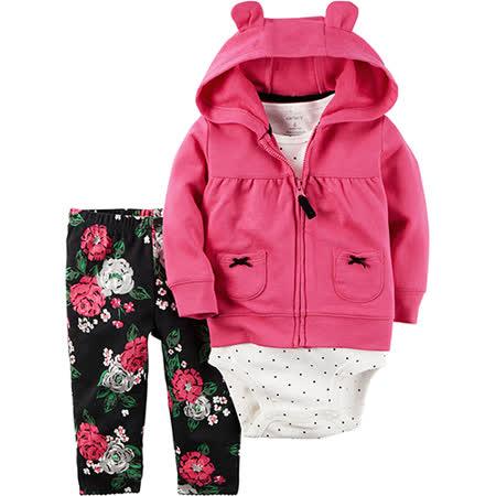 美國 Carter / Carter's 嬰幼兒秋冬暖外套包屁衣長褲三件組_桃紅運動_CTGC044