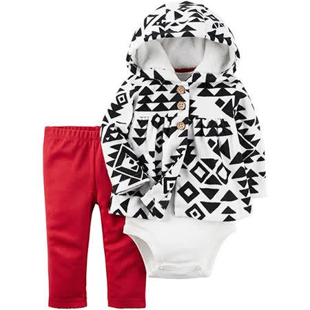 美國 Carter / Carter's 嬰幼兒秋冬暖外套包屁衣長褲三件組_黑白幾何_CTGC045