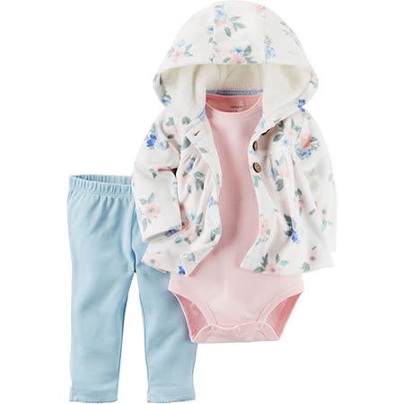 美國 Carter / Carter's 嬰幼兒秋冬暖外套包屁衣長褲三件組_粉藍花園_CTGC046