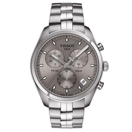 TISSOT 天梭 PR100 經典時尚三眼計時腕錶/41mm/T1014171107100