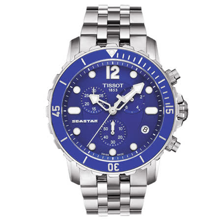 TISSOT 天梭 Seastar 1000 海上霸主陶瓷時尚潛水計時腕錶/45mm/T0664171104700
