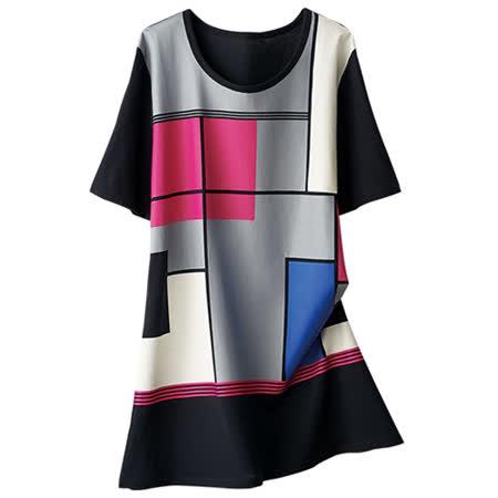 日本Portcros 現貨-休閒印花莫代爾長版T恤(黑(色塊)/M)
