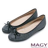 MAGY 清新甜美女孩 金蔥亮布蝴蝶結平底娃娃鞋-銀色