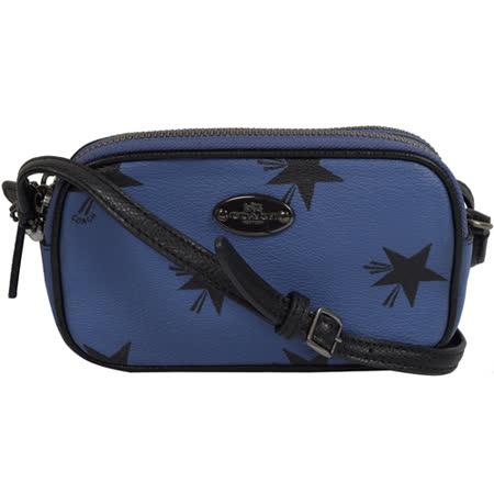 COACH 馬車金屬LOGO防刮星星小巧雙層斜背包.藍/黑