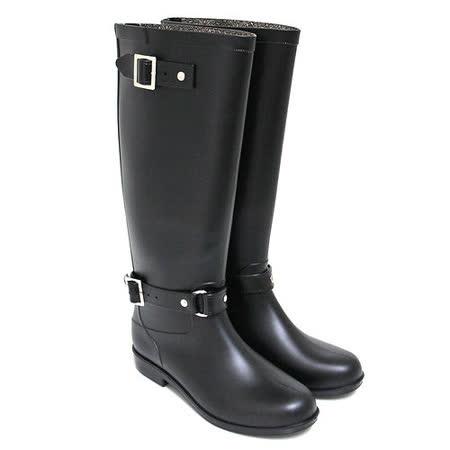 【Pretty】質感雙金屬扣飾後拉鍊長筒雨靴