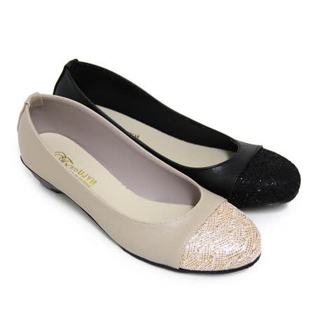 【Pretty】優雅金蔥圓頭低粗跟包鞋