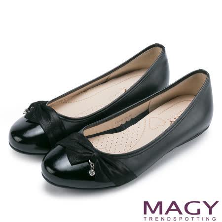MAGY 氣質甜美女孩 雙皮質拼接垂墜鑽飾娃娃鞋-黑色