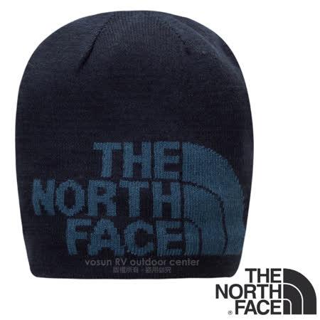 【美國 The North Face】暢銷款 大Logo PrimaLoft + 美麗諾羊毛雙層彈性保暖帽(僅65g.可雙面載).適賞雪滑雪登山健行 A5WG 都會藍/蔭藍