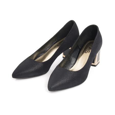 TAS 素面羊皮金屬高跟鞋-時尚黑