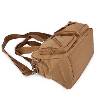 Kipling 經典Basic Plussu尼龍Defea BP雙口袋肩側背兩用波士頓包-亞麻褐
