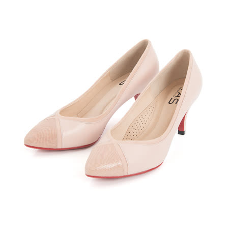 TAS壓紋羊皮配色拼接尖頭高跟鞋-公主粉