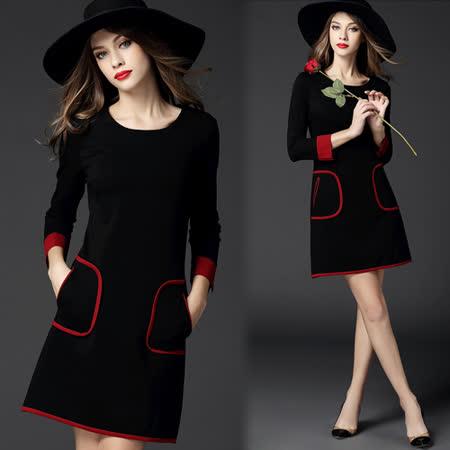 【歐風KEITH-WILL】歐美風清新拼色簡約洋裝
