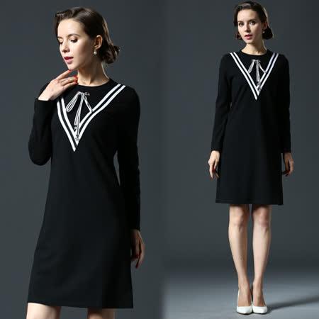 【歐風KEITH-WILL】學院風純色繫帶長袖洋裝