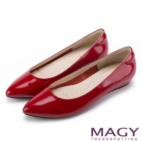 MAGY 清新氣質款 親膚舒適尖頭平底鞋-鏡紅