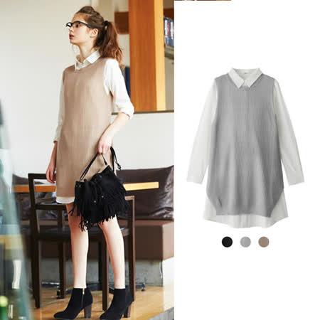 日本ANNA LUNA 預購-長版無袖針織背心+長版襯衫兩件組 (共三色)