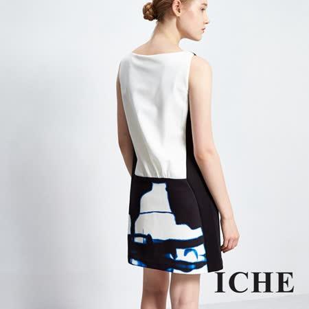 ICHE 衣哲  暈染印花拼接造型洋裝