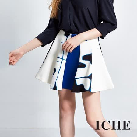 ICHE 衣哲  暈染印花傘狀波浪短裙