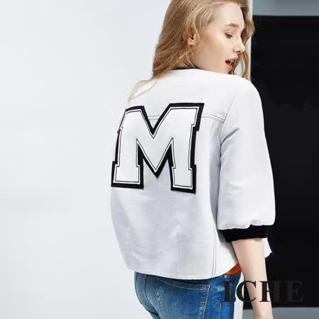 ICHE 衣哲  字母細條紋造型夾克外套