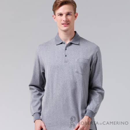ROBERTA諾貝達 台灣製 斜紋風情 純棉長袖POLO棉衫 灰色