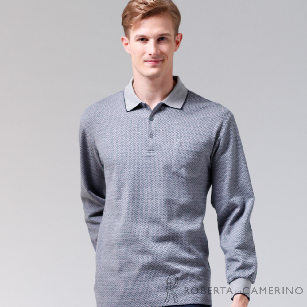ROBERTA諾貝達 製 休閒極品 純棉長袖POLO棉衫 灰藍